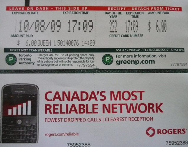 Parking pass receipt, Kingston, Ontario