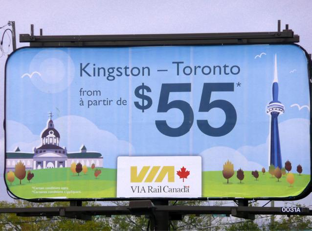 VIA Rail billboard, Kingston, Ontario