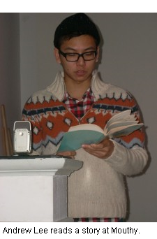 Andrew Lee reads a story at Mouthy, Mouth, Local Stories, Storytellers in Kingston