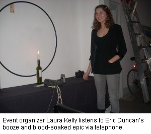 Event organizer Laura Kelly listens to Eric Duncan's booze and blood-soaked epic via telephone, Mouth, Local Stories, Storytellers in Kingston
