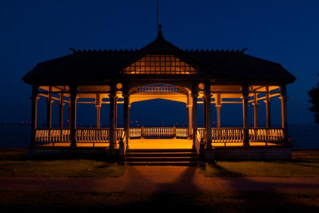 Gazebo, night, waterfront, Kingston, Ontario