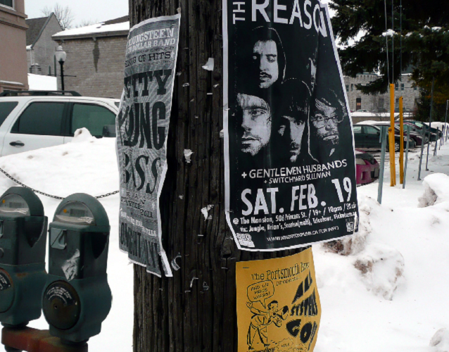 Postering, telephone poll, utility poll, bylaw, Kingston, Ontario