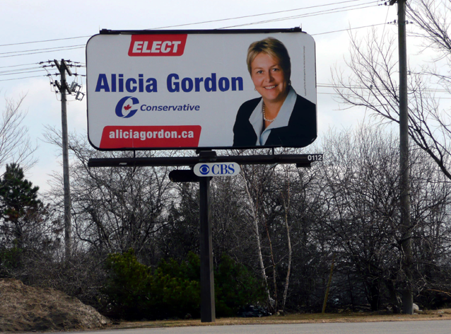 Alicia Gordon, Conservative Party of Canada, election billboard, Kingston, Ontario