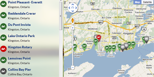 Beach Finder beta, Swim Guide, Lake Ontario Waterkeeper