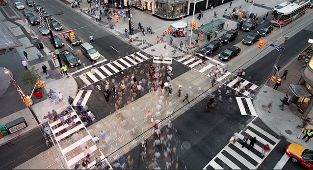 Pedestrian scramble, x crossing, cross walk, Kingston, Ontario