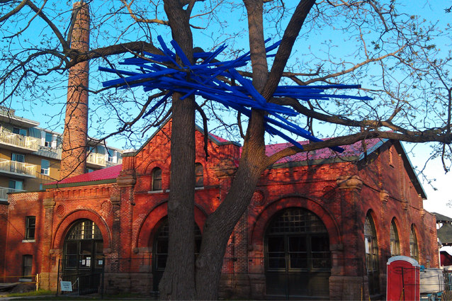 XCurated, Art in Public Places, Free Form in Blue, Shayne Dark, pumphouse museum, public art, Kingston, Ontario
