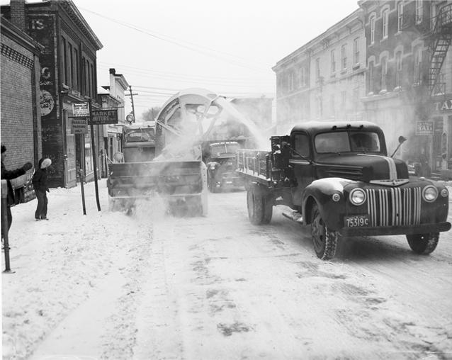 vintage winter photo, snow, street, snow clearance, downtown Kingston, Kingston