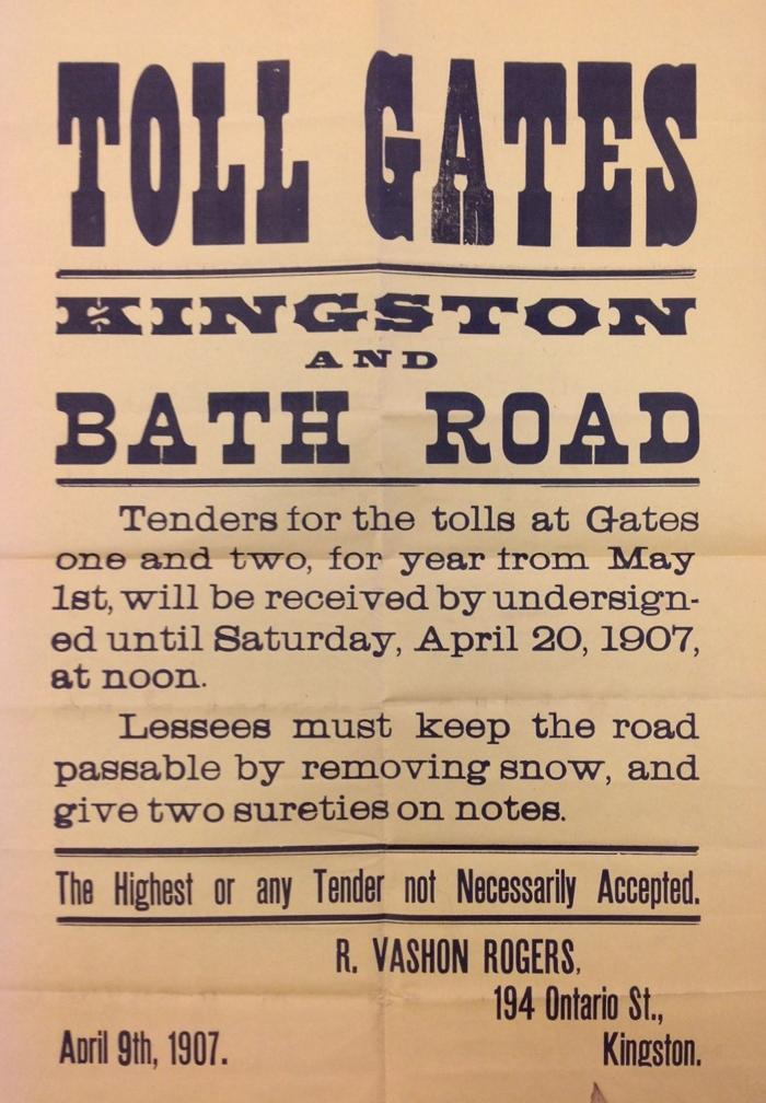 Bath, Road, Company, Kingston, Ontario, Queen's, Archives