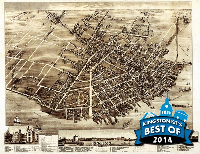 Herman, Brosius, map, aero, view, bird's, eye, nineteenth, century, Kingston, Ontario