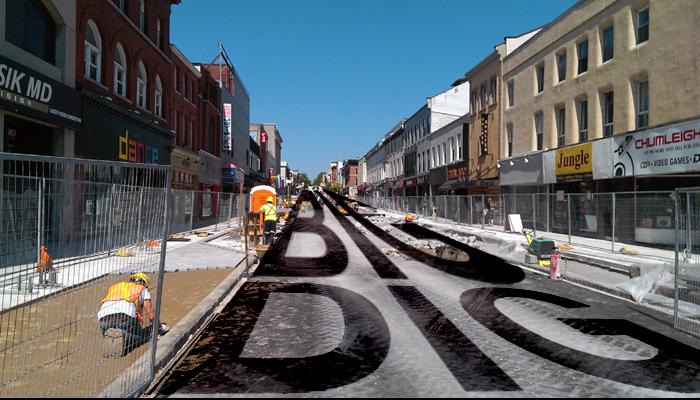 Big Dig, downtown, Princess Street, Kingston, Ontario