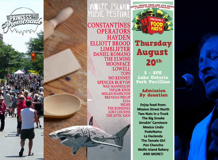Princess Street Promenade, Chef Cooking Demos, Wolfe Island Music Festival, Laser Masters' World Championships, Limestone City Blues Fest, Kingston, Ontario