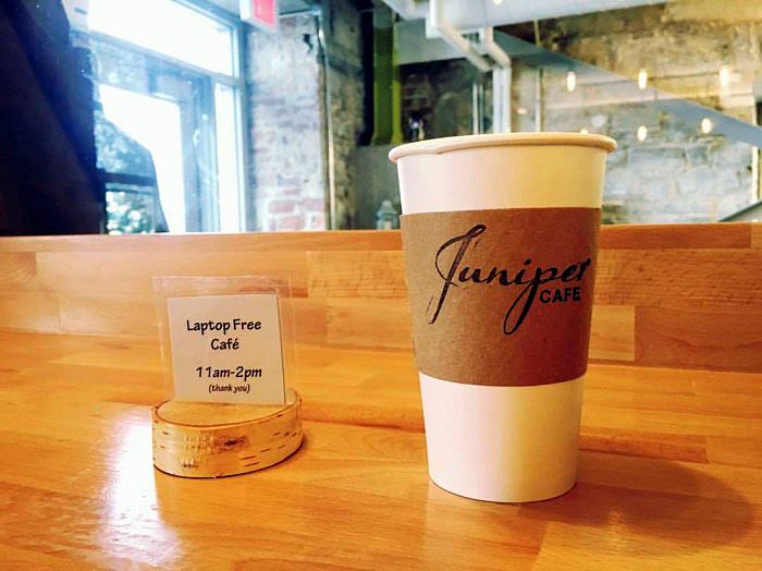 Juniper Cafe, Crave, coffee shops, cafes, screens, technology, laptops, Ontario