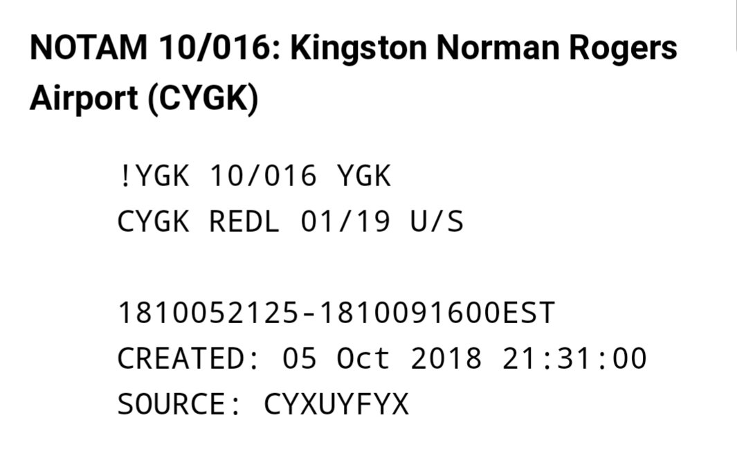 A NOTAM (Notice To Airmen) for Kingston Airport indicating that the runway edge lighting at runways 01/19  are unserviceable.