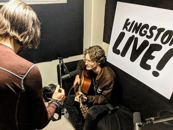 Local singer-songwriter Nick Babcock performs during a recording session for the Kingston Live podcast
