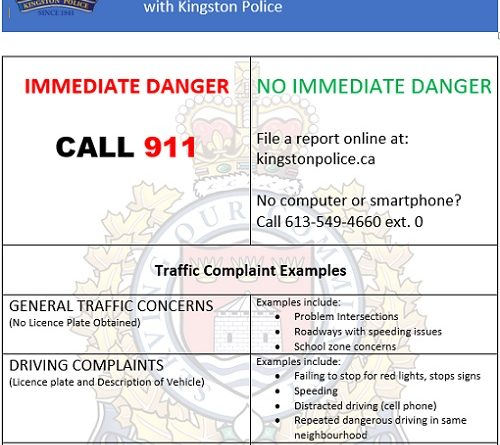 Kingston Police introduce Traffic Complaint Letter